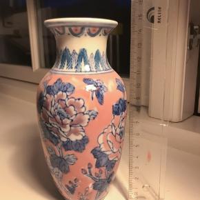 Lyserød og lyseblå blomstervase 15 cm høj 🌺✨