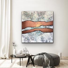 """Waveyness"" Nyt maleri med målene 100 x 100 cm. Malet med akryl og spray 🎨 guld sort hvid blå gul multi Pris er uden forsendelse. Tager også imod bestillinger efter egne farve- og størrelsesønsker 🍭🙏🏽 ROAR"