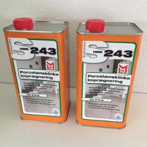 2 stk 1 liters flasker  HMK243 Silikonebaseret imprægnering velegnet til polerede, slebne og kunstporcelænsklinker. Kan bruges både inden- og udendørs. Fremragende beskyttelse imod skidt, vand, olie og alkali. Meget velegnet til badeværelser, køkkener og andre spiseområder. Belægningen kan ånde igennem imprægneringen. UV modstandsdygtig og efterlader overfladen med en naturlig fremtoning.  Prisen er for begge Markedspris 299 kr pr.stk
