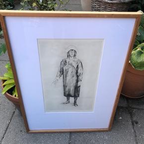 Sikker Hansen tegning i original ramme af træ  72x52cm