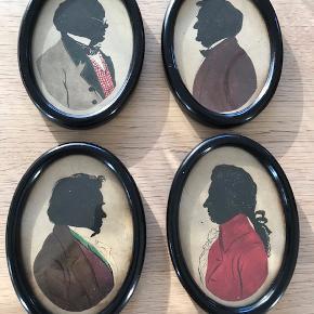 Motiv: 4 komponister i siluet i fine ovale rammer. Virkelig smukt udført. Vil tro det er akvarel og tusch. Sælges samlet