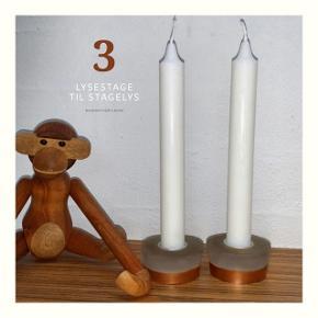 Unik håndlavet lysestage til stagelys med kobberkant🕯🧡  Pris: 2 stk 74,95 kr  (Kan også laves med sølvkant, guldkant eller efter andre øsnker)