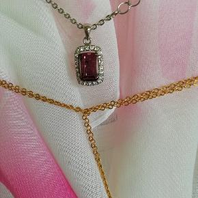 Jon Richard halskæde med lilla swarowski krystal Steen 25 kr