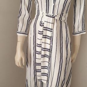 Xara blur/white striped cotton belted midi dress