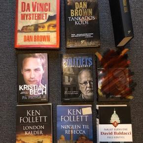 Bøger sælges 20-50 kr pr stk Dan Brown, Ken follett, David Baldacci, Kristian Bech