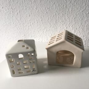 Sælger 2 lyshuse.   Den ene er fra Kähler og fejler intet.  Den anden har lille skramme i det ene hjørne (se billede).  Sælges samlet eller hver for sig.
