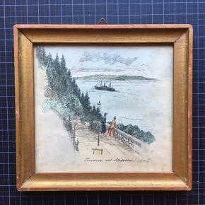 """Fint ældre litografi """"Terrasse ved Hotellet"""" 1886  Størrelse: 14x14,5 cm.   Standen er fin i forhold til at værket har ca. 130 år på bagen.   Sender gerne 📦"""