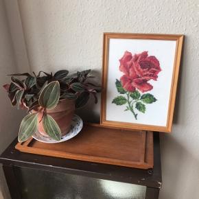 Smukt broderi i ramme med rød rose 🌹 i super flot stand, kun en smule skjolder/misfarvninger på, som er umulige at undgå med den alder, den har 💕 måler ca. 26 x 20 cm inkl. ramme. Haves også i orange, smukt som par!   Bemærk - afhentes ved Harald Jensens plads eller sendes med dao. Bytter ikke 🌸  💫 Rose roser broderi broderet kunst billede ophæng billed billedvæg billedevæg ramme træramme retro loppefund rød orange