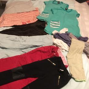 Tøjpakke str 3-4 år.  5 par bukser 1 par natbukser 2 kjoler 2 par strømpebukser