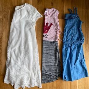 4 stk langærmet trøjer i str: 128 2 stk t-shirt i str: 128 2 stk væst i str: 128 1 stk hættetrøje i str: 128  Hvid kjole fra Zara i str: 164 2 stk kjole str: 128