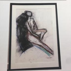 Smuk tegning - sort ramme udført af Ulla Houe  - kunst - kunstforening