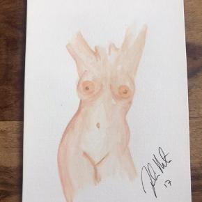 Lille akvarel Nøgen dame/ nude woman 14,5x21 (A5) Sælges samlet for 250kr