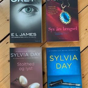 Diverse erotisk skønlitteratur bøger. Helt nye.  E L James 'Grey' Sylvia Day 'Syv års længsel' Sylvia Day 'Stolthed og lyst' Sylvia Day 'Fanget af dig'  25 kroner pr. stk.  Fra ikke-ryger hjem. Sender ikke, men kan afhentes i Aalborg eller Frederikshavn.