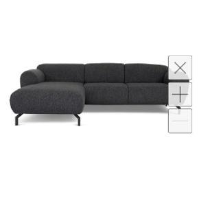 : H:76 cmx B:259 cmx D:154 cm  Bergø venstrevendt (når du står foran sofa) chaiselongsofa udført med slidstærkt,koksgråt/sort møbeltekstil og sorte metalben. En stilfuld sofa i moderne design med et karakteristisk blødt og afrundet formsprog.  Uden pletter eller mærker, den er købt for lille til familien.  Den kan deles i 2 sektioner for transport.
