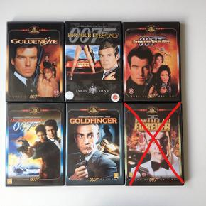 Agent 007 - James Bond  5 dvd'er: Golden eye For your eyes only Tomorrow never dies Die another day Goldfinger  Samlet pris 50,- plus porto Fast pris Sender med DAO