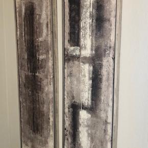 To flotte billeder i varme jordfarver  39 cm i bredden og 123 cm i længden