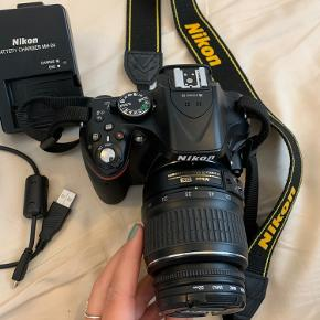 Nikon D5200 spejlreflekskamera Alt på billedet medfølger inkl. kvittering, kasse og uv filter Brugt i perioder, ca. 6 gange Ingen ridser eller andre tydelige brugsspor
