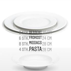 20 cm - Dessert tallerken 8 stk. 139,95kr. / 1119,6kr. 24 cm - Frokost tallerken 6 stk. 169,95kr. / 1019,7kr. 28 cm - Middags tallerken 8 stk. 199,95kr. / 1599,6kr. 28 cm - Dyb Tallerken 4 stk. 299,95kr. / 1199,8kr. Total værdi = 4938,7kr. (Nypris)