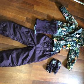 Fint vinter udstyr  Molo jakke str 116 Racoon skibukser str 110 Molo vanter og hue  Det hele er brugt sammen.