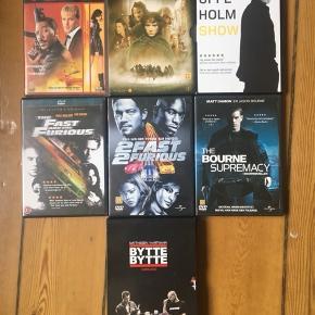 DVD'er 10 kr pr. stk:  The Fast and the Furious 2 Fast 2 Furious The Bourne Supremacy I-SPY The Uffe Holm Show Ringenes herre - Eventyret om ringen Bytte bytte købmand