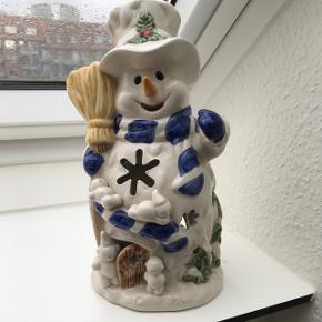 Stor snemands lysestage til fyrfadslys - mål: 15 x 27 cm