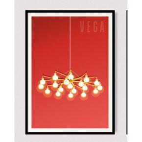 Vega plakat af lysekronen fra Store Vega💡 Aldrig brugt. Mål: 42x60 (A2)  - ramme medfølger ikke