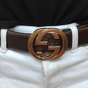 Gucci Bælte med brun læder-rem