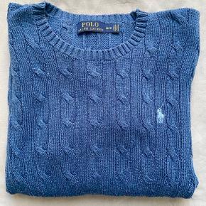 Flot blå Ralph Lauren Kabelstrik Sweater  Sendes Kun