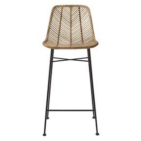 Nye Bloomingville naturrattan højstole/barstole med ben af jern. Har to stk, som jeg har vundet, nypris er 2199 kr pr stk. Vil stå perfekt i køkken ved ø, ved højt spisebord, i bar eller på terrasse. 1 stol for 1000 kr. 2 stole for 1800 kr. Højde 102 cm Bredde 43 cm Siddehøjde ca 71,5 cm
