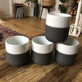 Royal Copenhagen Contrast / kontrast krus med grå silikone.Stort set ikke brugt.  Sælges samlet for 400kr