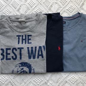3 x Tshirt: Ralph Lauren, Hilfiger, Diesel. Brugte men fornuftig stand.