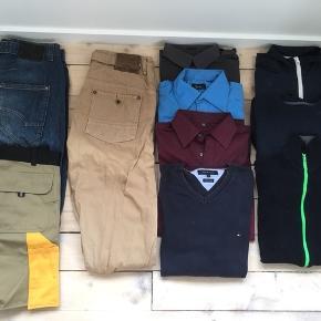 Lækker pakke str. L Består af: 3 skjorter m. lange ærmer 1 Tommy Hilfiger polo sweatshirt 2 zip trøjer 1 sweatshirt 1 par SuperDry bukser 1 par knickers 1 par helt nye arbejdsshorts