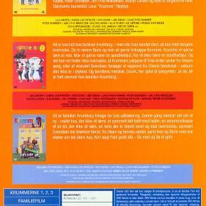 0849 - Krummerne 1-3 (3 film) (DVD) Dansk Film - I FOLIE   Krummerne 1-3  Krummerne   Den største danske filmsucces i 1991. Hovedpersonen er selvsagt Krumme, der uden at gøre det med vilje, driver sine omgivelser til vanvid med daglige uheld og ballade. Men heldigvis for ham har han en sød og overbærende familie, der tager livet og slagsmålene, som de kommer. Efter Thøger Birkelands elskede bøger, kommer her halvanden times veloplagt sjov og ballade for hele familien, med nogle af Danmarks mest elskede skuespillere.   Krummerne 2: Stakkels Krumme!   Alt er normalt hos familien Krumborg – men når man kender dem, så kan intet længere overraske. De to røvere Boris og Ivan vil gerne kidnappe Krumme. Krumme vil gerne lære at ride. Mor vil gerne have en sundhedsjul. Far vil ikke have en sundhedsjul. Og det kan vel heller ikke overraske, at Krummes julegave til Yrsa ender under fru Olsens seng, eller at vicevært Svendsen forsøger at reparere fru Olsens håndvask – selvom den ikke er i stykker. Og familiens mindste, Grunk, har spist al julepynten. Jo da, alt er helt normalt hos familien Krumborg!   Krummerne 3: Fars gode idé   Så er familien Krumborg tilbage for fuld udblæsning. Denne gang handler det om et nymalet hus, der ikke vil tørre, et gammelt telt fyldt med huller, en skrammelkasse af en bil, der ikke vil køre, en ferie, der er blevet lovet, og som skal overholdes, vicevært Svendsen, der brækker benet, fru Olsen og hendes søster samt Ivan og Boris med nye planer om det store kup. Kort sagt, Fars gode idé – se med og dø af grin! .
