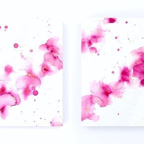 2 * A2 malerier sælges som sæt.  Materialer: Yupo papir Blæk