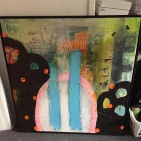 Maleri - måler 104x104 cm inkl ramme.   Afhentes i Varde