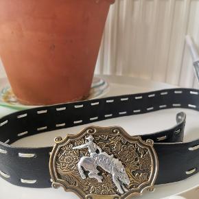 Vintage leather belt with handmade western buckle