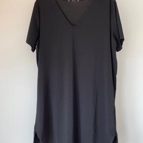 Næsten ikke blevet brugt, har dog klippet mærket af så kjolen kan vendes til at gå ned på ryggen i stedet 🙌🏼 90% polyester og 10% elastan. Kjolen har en lille slids i siderne