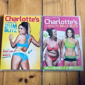 2 styks trænnings dvd'er med Charlotte Crosby. Bum Blitz (numse træning) Åbnet og prøvet 1 gang. Belly Blitz (mave træning) Stadig i indpakning.  Sælges kun samlet - prisen er for begge.