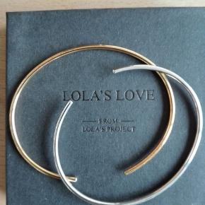 2 stk. tynde armbånd fra Lola's Love. 1 stk. forgyldt, 1 stk. sølv.