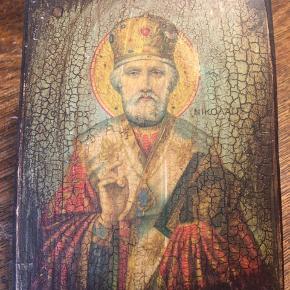 Helgenbillede, ikon på træ 9x12cm. 125kr Kan hentes kbh v eller sendes for 40kr dao