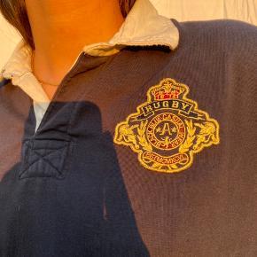 vintage mørkeblå rugby sweater / trøje med sød skjorte krave i ægte 90'er preppy stil 💖💒
