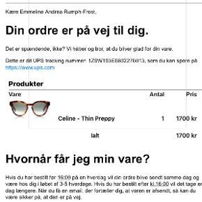 CELINE thin preppy solbriller ingen tegn på slid!  købt for 1700  mp 1000  BIN 1200