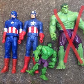 Actionfigurer, to captain america og lille hulk. Samlet pris 40kr. Den store hulk er solgt