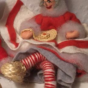 Fint ældre nissepar med sivsko   Jul julepynt Christmas nisse retro vintage  Håndlavet   Sender gerne