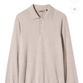 KOMME SAND MELANGE LONG SLEEVE POLO KNIT, 100% ULD