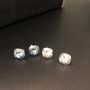 Øreringe brugt få gange, så fine  I blålig sten og klar sten  80kr/par