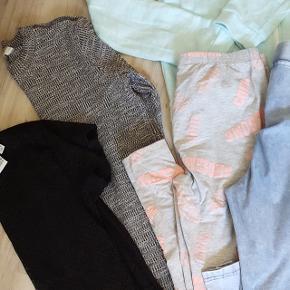 Fin tøjpakke i str. 170/14-15 år. Alt er meget pænt og velholdt. 1 natsæt 2 sweatshirts 1 blonde bluse  1 jumpsuit 2 par leggings 1 t-shirt 1 kjole