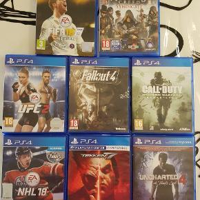 Sælger disse PlayStation 4 spil, da de ikke rigtig bliver brugt mere.   De sælges samlet til 550 kr eller hver for sig.   UFC 2 30 KR SOLGT FALL OUT 20 KR NHL 18 130 KR TEKKEN 7   SOLGT CALL OF DUTY 200 KR FIFA 18 100 KR  UNCHARTED 4 50 KR ASSASSINS CREED 150