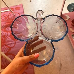 """Retro vintage glasskål formet som blade med 3 """"huller"""" i til opbevaring, dib, snacks eller diverse nibs"""