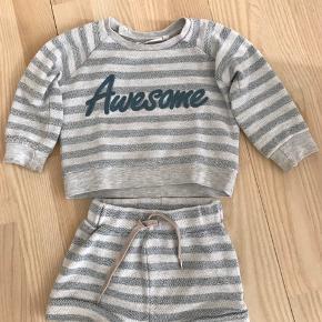Lækker sweater med tilhørende shorts i 100% bomuld. Sweateren er brugt, men fin og shorts'ne er næsten som nye. Sælges samlet.